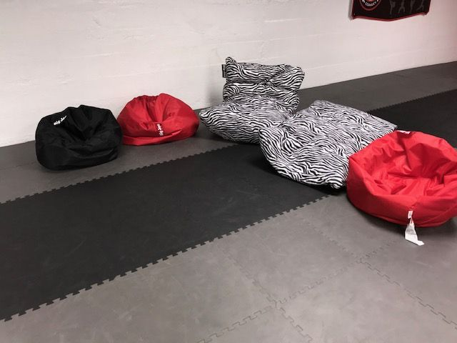Bean bags in the Panther's lounge